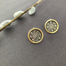 Load image into Gallery viewer, Persian Earrings-Persian Stud Earrings with Engraving: Persian Jewelry-Afra Art Gallery