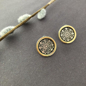 Persian Earrings-Persian Stud Earrings with Engraving: Persian Jewelry-Afra Art Gallery
