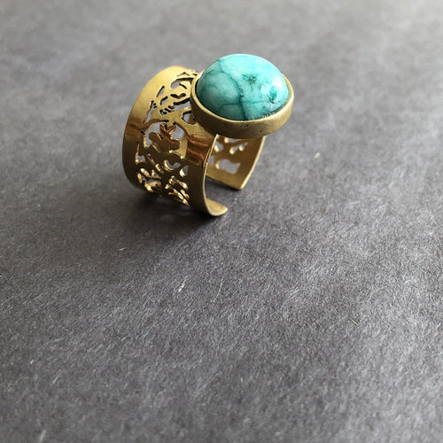 Persian Rings-Handmade Persian Ring with Turquoise: Persian Jewelry-Afra Art Gallery