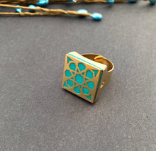 Load image into Gallery viewer, Persian Rings-Persian Brass Square Ring with Blue Pattern: Persian Jewelry-Afra Art Gallery