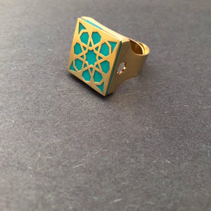 Persian Rings-Persian Brass Square Ring with Blue Pattern: Persian Jewelry-Afra Art Gallery