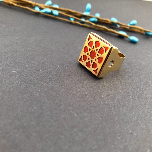 Persian Rings-Persian Brass Square Ring with Red Pattern: Persian Jewelry-Afra Art Gallery
