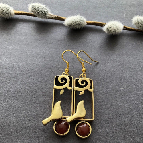 Persian Earrings-Persian Dangle Earrings with Agate and Bird-: Persian Jewelry-Afra Art Gallery