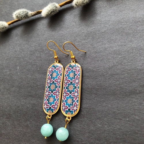 Persian Earrings-Handmade Persian Earrings with Colorful Kashi Pattern-: Persian Jewelry-Afra Art Gallery