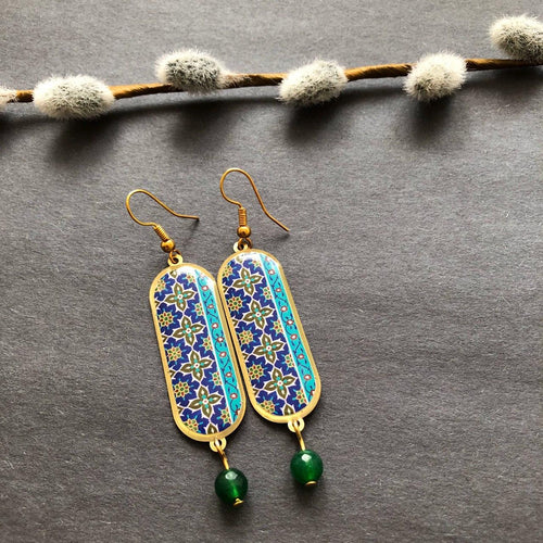 Persian Earrings-Handmade Persian Earrings with Colorful Pattern-: Persian Jewelry-Afra Art Gallery