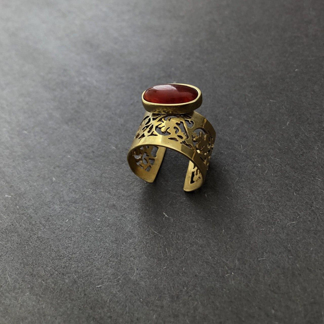 Persian Rings-Handmade Persian Ring with Gemstone: Persian Jewelry-Afra Art Gallery