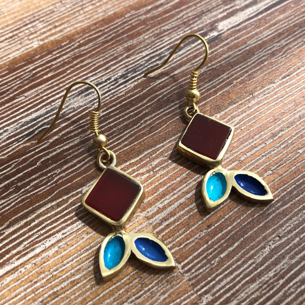 Persian Earrings-Handmade Colorful Brass Dangle Earrings-: Persian Jewelry-Afra Art Gallery