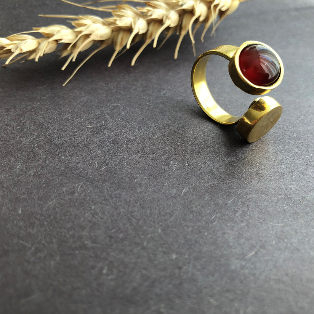 Persian Rings-Handmade Brass and Agate Ring: Persian Jewelry-Afra Art Gallery