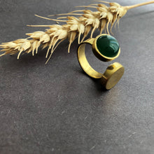 Load image into Gallery viewer, Persian Rings-Handmade Brass and Green Agate Ring: Persian Jewelry-Afra Art Gallery