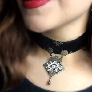 Persian Necklace-Persian Handmade Gothic Choker with Embroidered Pendant:Persian Jewelry-Afra Art Gallery