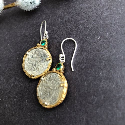 Persian Earrings-Handmade Silver Dangle Earrings With Persian Coins and Green Gemstones-: Persian Jewelry-Afra Art Gallery