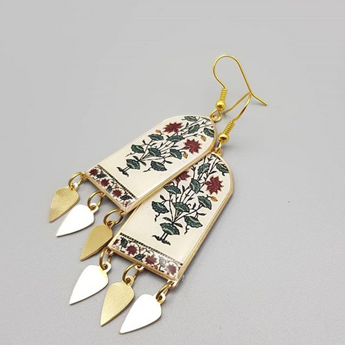Persian Earrings-Handmade Brass Earrings with Colorful flower-: Persian Jewelry-Afra Art Gallery