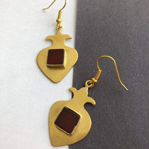 Persian Earrings-Handmade Pomegranate shaped Brass Earrings with Agate-: Persian Jewelry-Afra Art Gallery