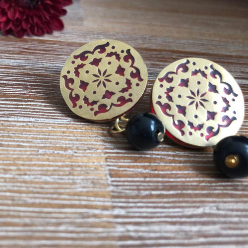 Persian Earrings-Handmade Brass Earrings with Geometric Pattern-: Persian Jewelry-Afra Art Gallery