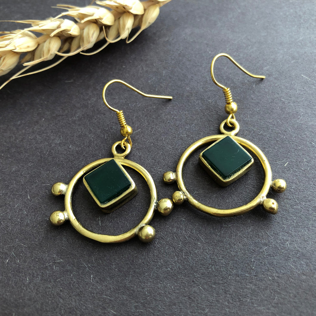 Persian Minimal Jewelry-Persian Handmade Earrings with Green Agate:Persian Jewelry-Afra Art Gallery