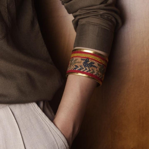 Persian Bracelets -Handmade Golden Plated Brass Bangle Embellished with Kilim:Persian Jewelry-Afra Art Gallery