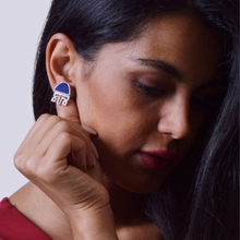 Load image into Gallery viewer, Persian Earrings-Handmade Silver and Lapis Lazuli Earrings-: Persian Jewelry-Afra Art Gallery