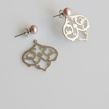 Load image into Gallery viewer, Persian Earrings-Handmade Silver Flower shaped Earrings with Pearl-: Persian Jewelry-Afra Art Gallery