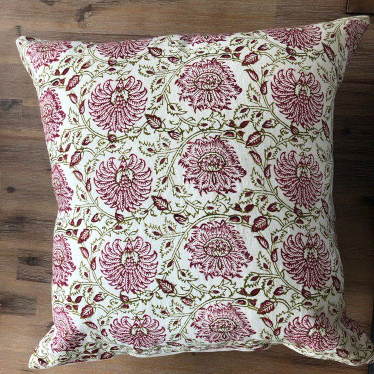 Handmade Cotton Cushion Cover with Stamped print