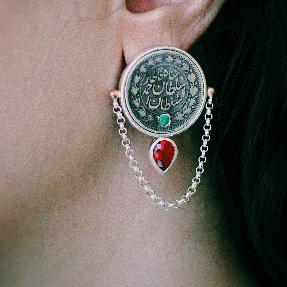 Persian Earrings-Handmade Silver Stud Earrings With Real Coins and Gemstones-: Persian Jewelry-Afra Art Gallery