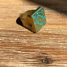 Load image into Gallery viewer, Persian Rings-Handmade Brass Square Ring with Persian Pattern: Persian Jewelry-Afra Art Gallery