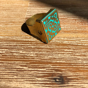 Persian Rings-Handmade Brass Square Ring with Persian Pattern: Persian Jewelry-Afra Art Gallery