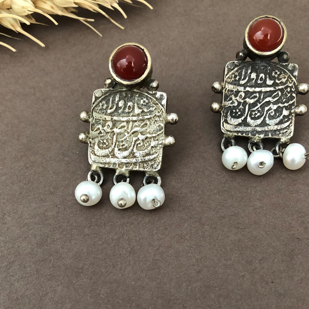 Persian Earrings-Handmade Silver Earrings With Coins and Gemstones-: Persian Jewelry-Afra Art Gallery