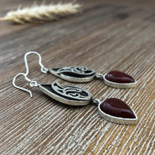 Load image into Gallery viewer, Persian Earrings-Handmade Silver Dangle Earrings With Agate-: Persian Jewelry-Afra Art Gallery