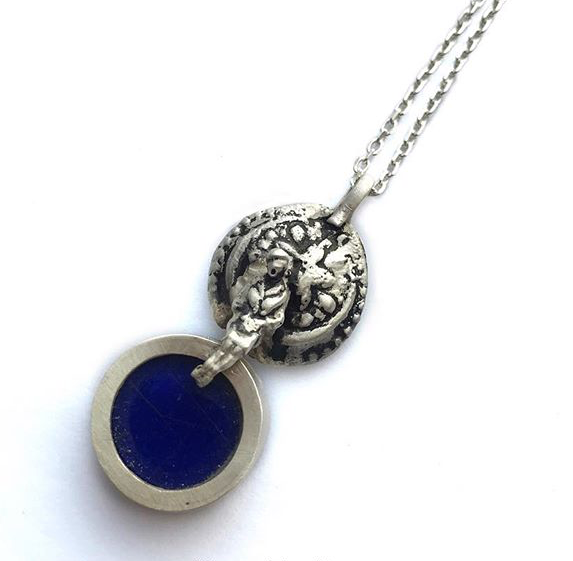 Persian Necklace-Handmade Silver and Lapis Lazuli Necklace:Persian Jewelry-Afra Art Gallery