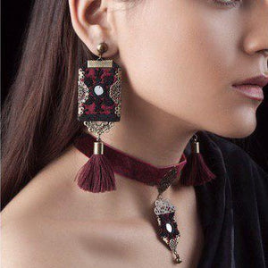Persian Embroidery Handmade Embroidery Drop Earrings with Tassels: Persian Jewelry-Afra Art Gallery