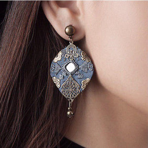 Persian Embroidery Handmade Embroidery Earrings: Persian Jewelry-Afra Art Gallery