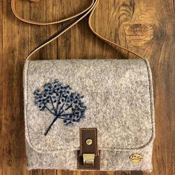 Persian Bags Handmade Felt Woman Cross Shoulder Bag with Embroidery-Afra Art Gallery