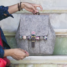 Load image into Gallery viewer, Persian Bags Handmade Felt Woman Backpack with Embroidery-Afra Art Gallery