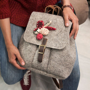Persian Bags Handmade Felt Woman Backpack with Embroidery-Afra Art Gallery