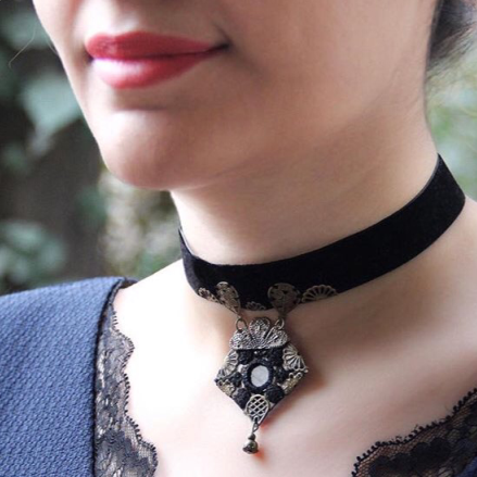 Persian Necklace-Handmade Gothic Black Velvet Choker Necklace with Embroidered Pendant:Persian Jewelry-Afra Art Gallery