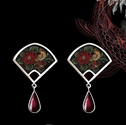 Persian Earrings-Handmade Silver and Wine Enamel Dangle Earrings inlaid with Miniature-: Persian Jewelry-Afra Art Gallery