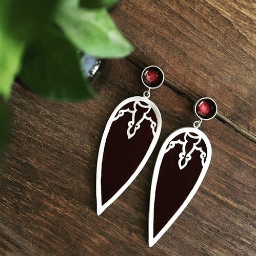 Persian Earrings-Handmade Silver and Wine Red Enamel Drop Earrings inlaid with Burgundy Velvet-: Persian Jewelry-Afra Art Gallery