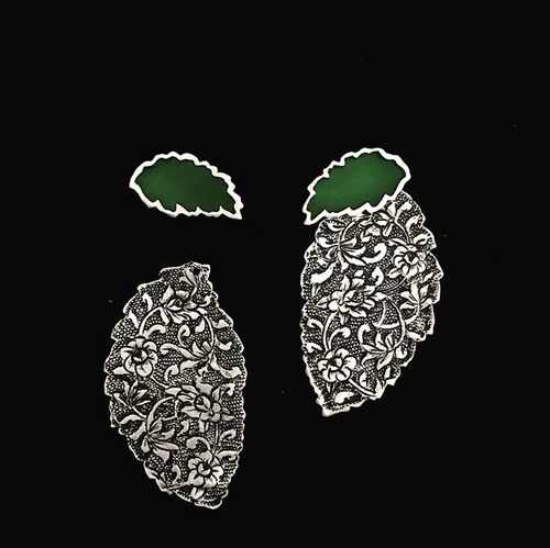 Persian Earrings-Handmade Leaf Shaped Engraved with Jade Enamel Stud Earrings-: Persian Jewelry-Afra Art Gallery