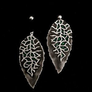 Persian Earrings-Handmade Leaf-Shaped Silver and Green Enamel Stud Earrings-: Persian Jewelry-Afra Art Gallery