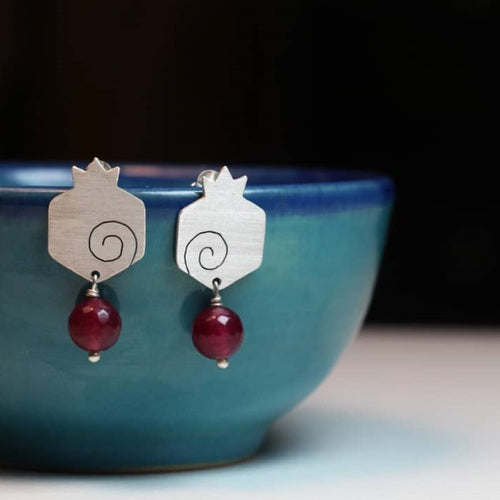 Persian Earrings-Handmade Pomegranate shaped Silver Stud Earrings with Agate-: Persian Jewelry-Afra Art Gallery