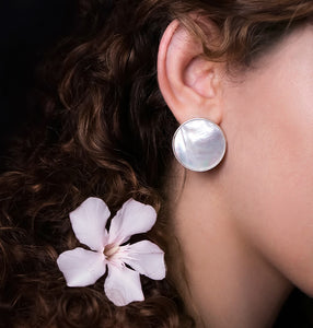 Persian Earrings-Handmade Silver and Oyster Shell Asymmetrical Stud Earrings-: Persian Jewelry-Afra Art Gallery