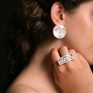 Persian Rings-Handmade Silver and Oyster Shell Rectangular Ring: Persian Jewelry-Afra Art Gallery