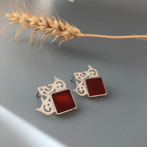 Persian Earrings-Handmade Royal Silver Earrings with Agate:Persian Jewelry-Afra Art Gallery