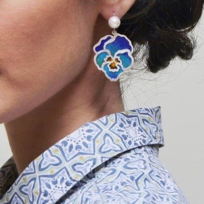 Handmade Flower Shaped Earrings with Enamel