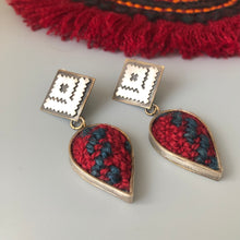 Load image into Gallery viewer, Persian Earrings-Handmade Silver Drop Earrings Embellished with Jajim:Persian Jewelry-Afra Art Gallery