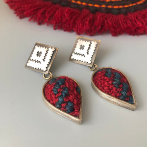 Persian Earrings-Handmade Silver Drop Earrings Embellished with Jajim:Persian Jewelry-Afra Art Gallery