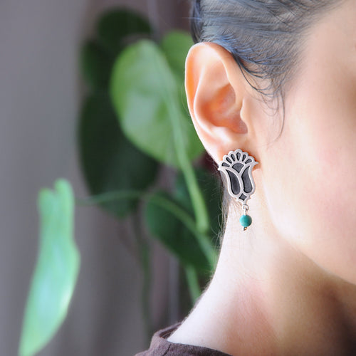 Persian Style  Earrings with Torquoise