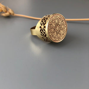 Brass Signet Ring with Persian Pattern