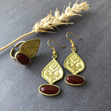 Load image into Gallery viewer, Persian Teardrop-shaped Set with Brown Agate: Persian jewelry-Afra art gallery