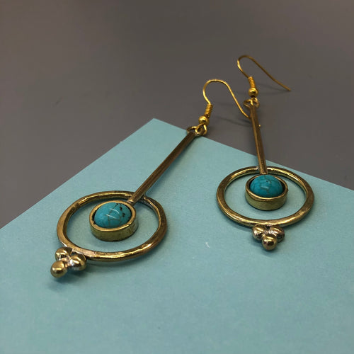 Persian Earrings-Persian Dangle Earrings with Turquoise:Persian Jewelry-Afra Art Gallery